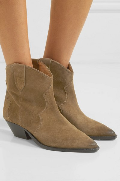 Isabel Marant dewina distressed suede ankle boots in taupe