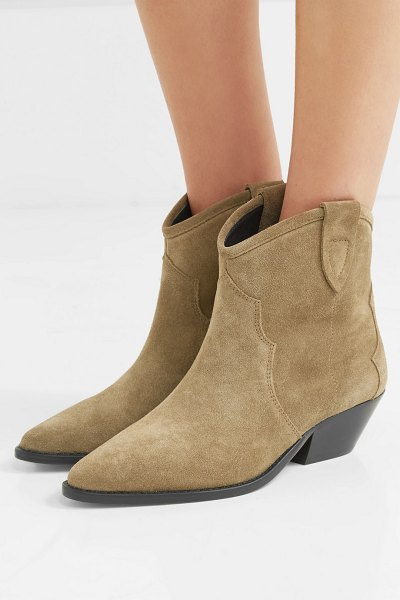 Isabel Marant dewina suede ankle boots in beige - Cowboy boots were spotted in so many Fall '18 runway...