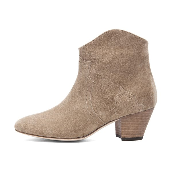 Isabel Marant Dicker Calfskin Velvet Booties in taupe - Calfskin velvet leather upper and sole. Made in France....