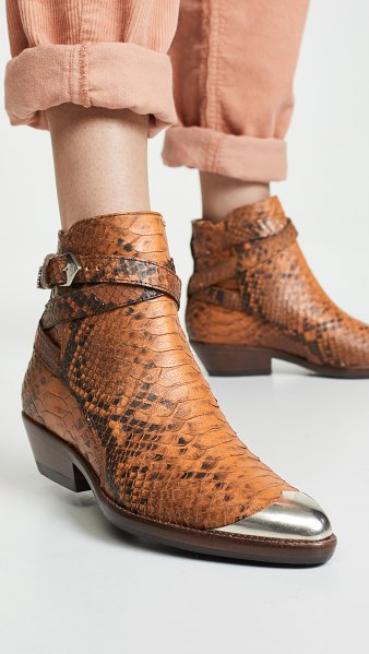 Isabel Marant donee boots in cognac - Leather: Cowhide Snake-embossed leather Boots Flat...