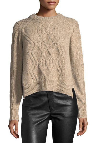 "Isabel Marant Elena Cable-Knit Crewneck Sweater in beige - Isabel Marant ""Elena"" sweater in cable knit. Ribbed..."
