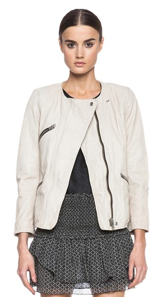 Etoile Isabel Marant Bradi washed lambskin leather jacket in neutrals - Self: 100% lambskin leather - Lining: 100% poly.  Made...
