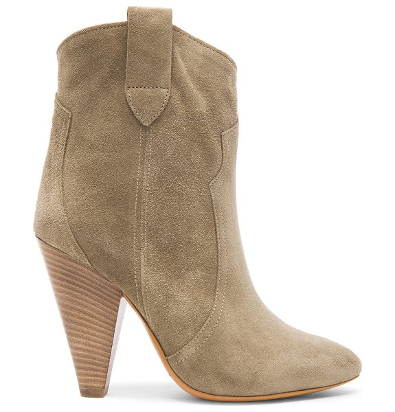 Etoile Isabel Marant Roxann Calfskin Velvet Leather Booties in neutrals,gray - Calfskin velvet leather upper with leather sole.  Made...