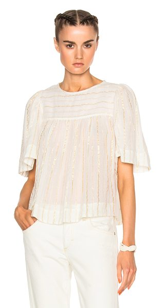 Etoile Isabel Marant Sara Lurex Cotton Top in white,metallics - 96% cotton 4% poly.  Made in India.  Dry clean only. ...