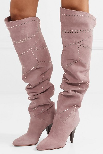 Isabel Marant ladra studded suede knee boots in blush - Isabel Marant's 'Ladra' boots were unmissable on the...