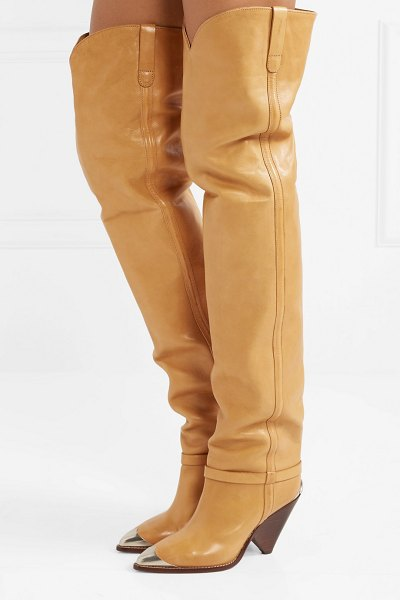 Isabel Marant lafsten embellished leather over-the-knee boots in sand