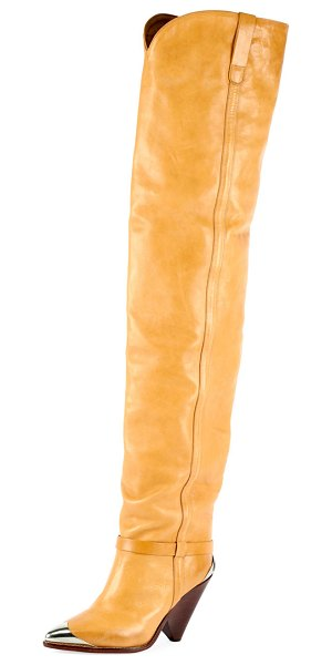 Isabel Marant Lafsten Over-The-Knee Western Boot in nude - Isabel Marant smooth calfskin boot with embellished...