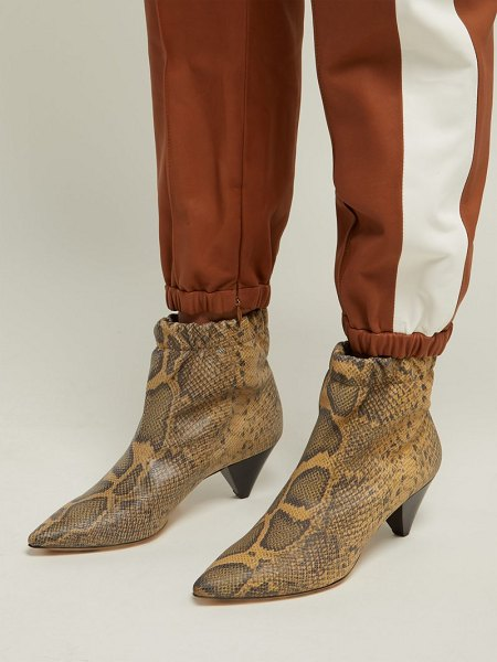 Isabel Marant leffie snake effect leather ankle boots in cream multi