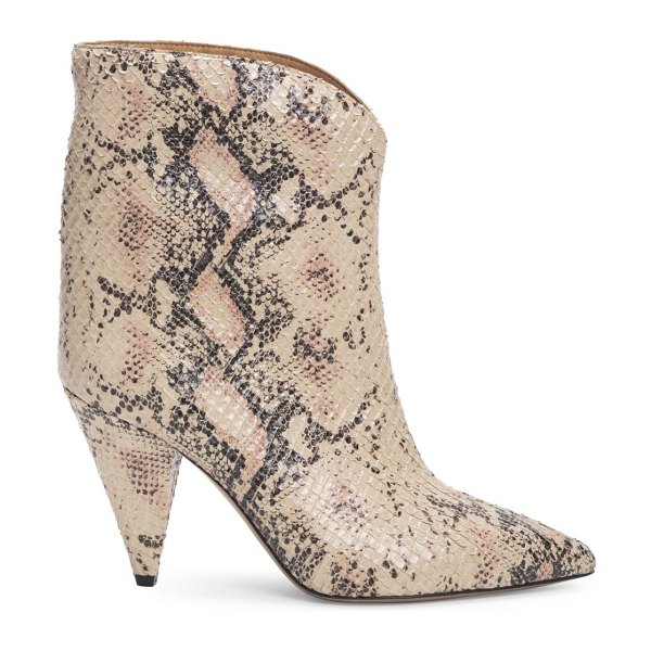 Isabel Marant leinee snakeskin-embossed leather ankle boots in nude