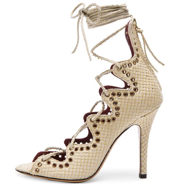 Isabel Marant Lelie snaky ghillies calfskin leather sandals in neutrals,animal print - Snakeskin embossed calfskin leather upper with leather...