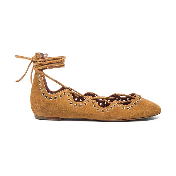 Isabel Marant Leo Eyelet Velvet Flats in neutrals - Calfskin velvet leather upper with leather sole.  Made...