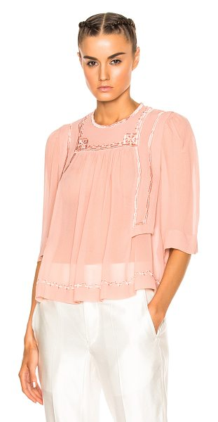 Isabel Marant Mara Blouse in neutrals,pink - Self: 100% silk - Embroidery: 100% viscose.  Made in...