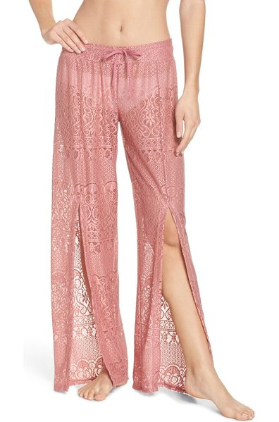 ISABELLA ROSE about lace cover-up pants in dusty rose - Go from the shore to the boardwalk in these sheer lace...