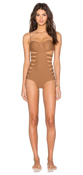 Issa de Mar Swimsuit in brown - 80% nylon 20% lycra. Hand wash cold. Adjustable shoulder...