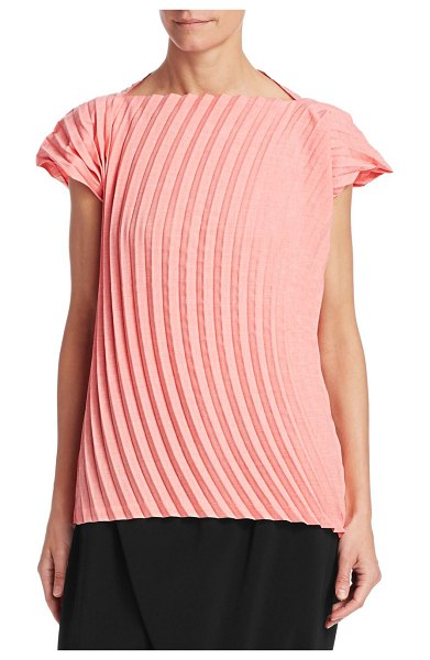Issey Miyake blossom cap sleeve top in light pink - A slashed bateau neckline pairs winningly with cap...