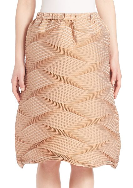 Issey Miyake Palm tree skirt in beige - Textural pleated waves shape effortless pull-on...