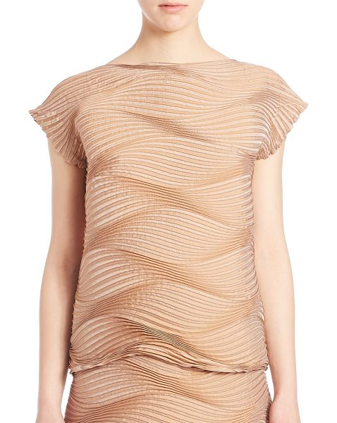 Issey Miyake Palm tree top in beige - Textural pleated waves shape short-sleeve...