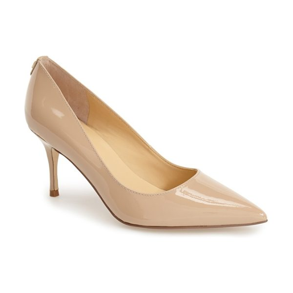 Ivanka Trump boni pointy toe pump in nude patent - A modest slim heel elevates this elegantly designed pump...