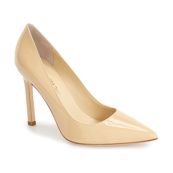 Ivanka Trump carra pump in nude patent - A square stiletto heel lends a modern, angular touch to...