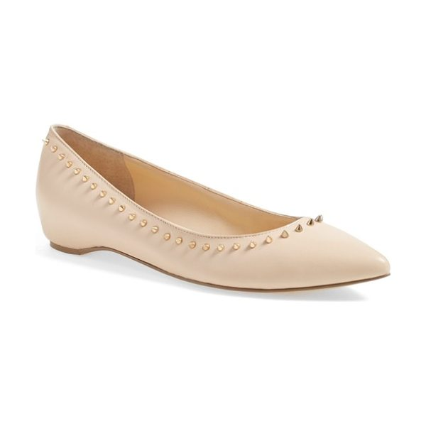 Ivanka Trump cecille studded pointy toe flat in new blush - Gleaming pyramid studs along the topline lend edgy-chic...