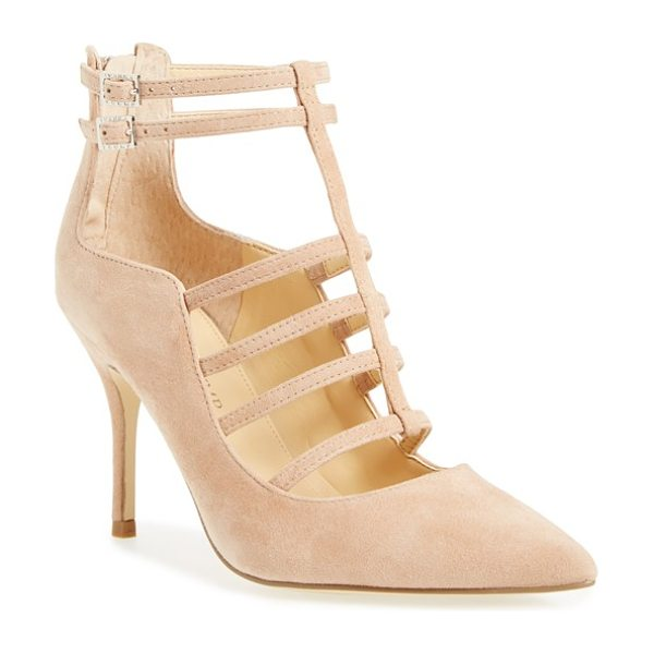 Ivanka Trump domin t-strap pump in dark beige suede - Gleaming goldtone hardware illuminates the caged straps...