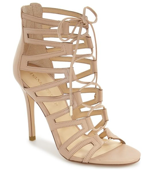 Ivanka Trump hallee ghillie lace cage sandal in lite latte leather - Geometric cage straps interlocked with metal-tipped...