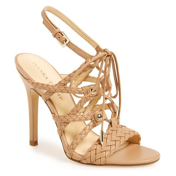 Ivanka Trump hera sandal in taupe leather - Braided straps and slim, decorative laces add...