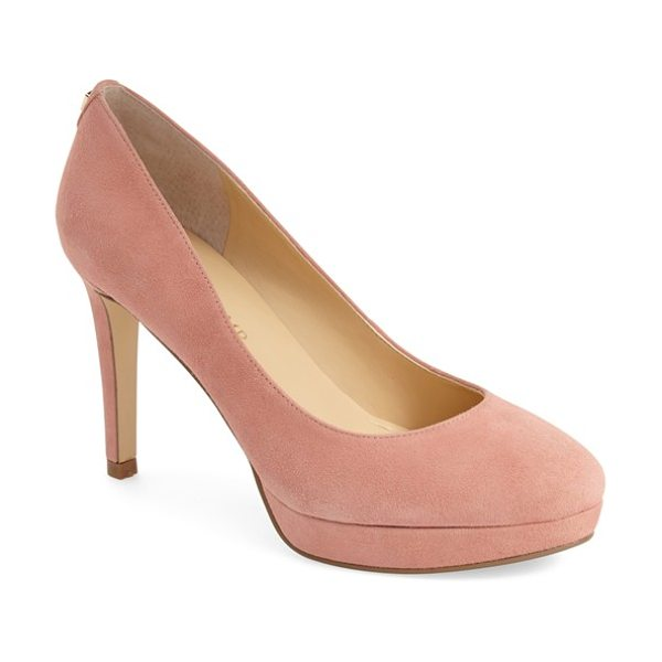 Ivanka Trump kimo platform pump in lt peach suede - With curves in all the right places, this stunning...