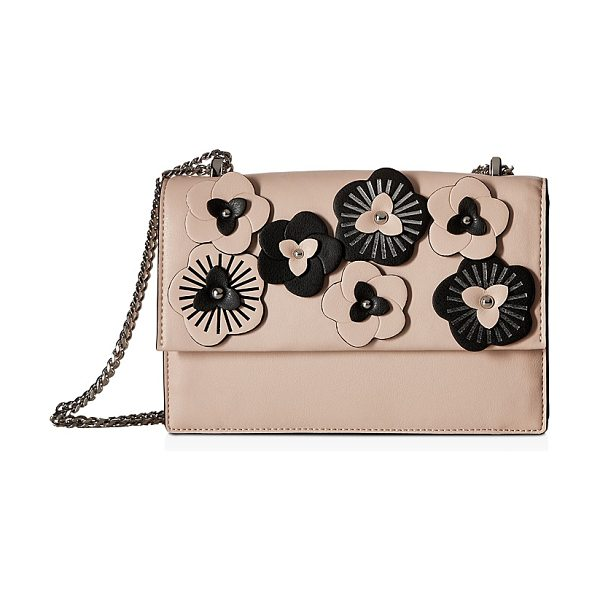 Ivanka Trump Mara Cocktail Floral Leather Shoulder Bag in blush/gunmetal - Ivanka Trump Mara Cocktail Floral Leather Shoulder Bag-Handbags