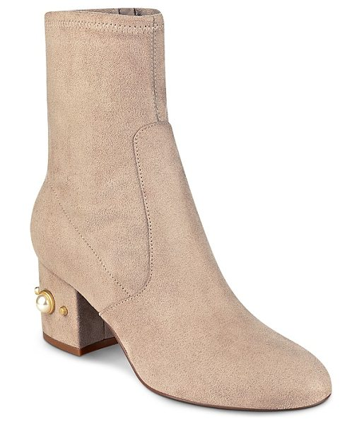IVANKA TRUMP Previ Faux Pearl Embellished Booties in tan - Ivanka Trump Previ Faux Pearl Embellished Booties-Shoes
