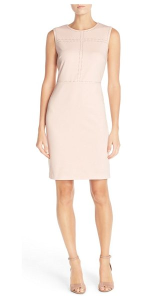 Ivanka Trump sleeveless sheath dress in blush - Small rounded studs pattern the bodice of a...