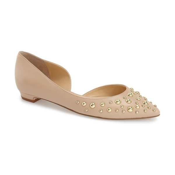 Ivanka Trump tappin flat in lite latte leather - Round, eye-catching studs define a pointy-toe flat...