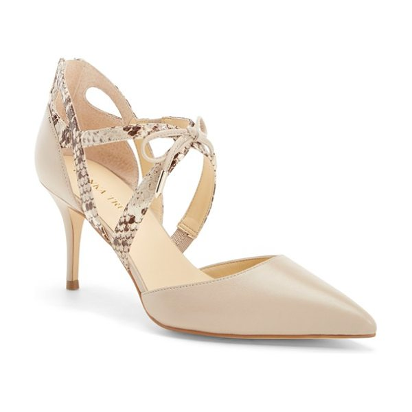 Ivanka Trump tenice pointy toe pump in natural leather - Layered crossover straps with contrast texture and a...