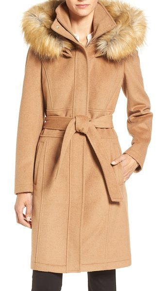 Ivanka Trump wool blend coat with removable faux fur trim hood in vicuna - Softly structured and cinched with a sash belt, this...