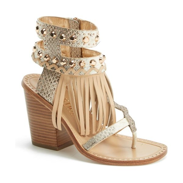 Ivy Kirzhner hildagard fringe ankle cuff sandal in natural - Swingy fringe adds eye-catching movement to thong...