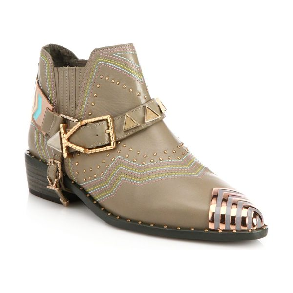Ivy Kirzhner Sante fe leather cap-toe ankle boots in truffle - Chevron-tipped leather boot with embellished harnessStud...