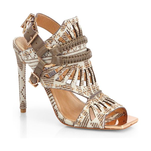 Ivy Kirzhner Valentin mixed-media studded calf hair & leather cut-out sandals in natural