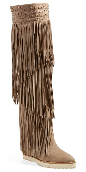 IVY KIRZHNER wild over the knee boot - Long, layered fringe lends eye-catching movement to a...