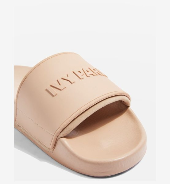 IVY PARK embossed neoprene lined slide sandal in dusty pink - Block logo letters pop out from the simple slide design...