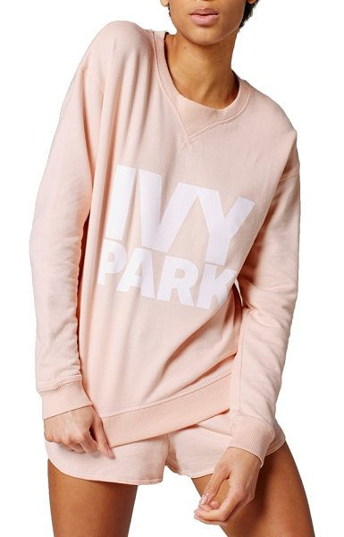 IVY PARK logo crewneck sweatshirt in pale pink - Soft loopback jersey and an oversized fit make this...