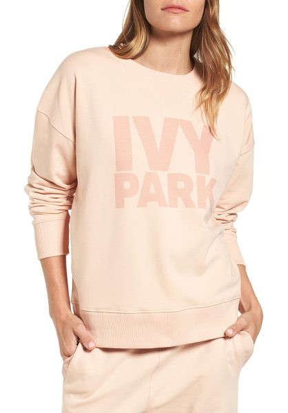 IVY PARK logo sweatshirt in blush - Comfy ribbing and a stretchy cotton blend offer the...