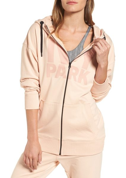 IVY PARK logo zip hoodie in blush - The essential zip hoodie has been crafted from a cozy...