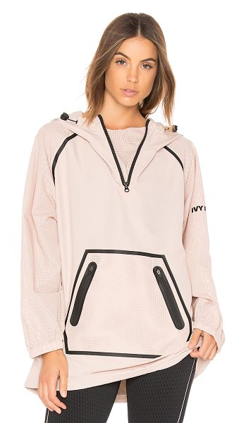 IVY PARK Mesh Sleeve Hoodie in dusty pink - Self & Contrast: 100% poly. Partial front zipper...