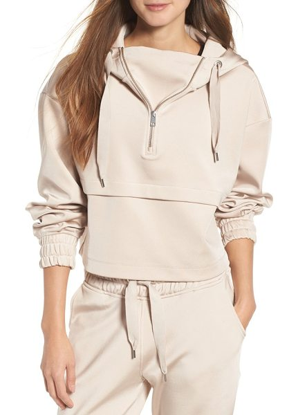 IVY PARK satin crop hoodie in taupe - Taking a slouchy crop hoodie to a luxe level, IVY PARK...