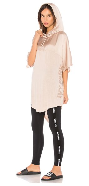 IVY PARK Satin Hooded Tee in taupe - Self: 52% viscose 48% polyContrast: 100% poly....