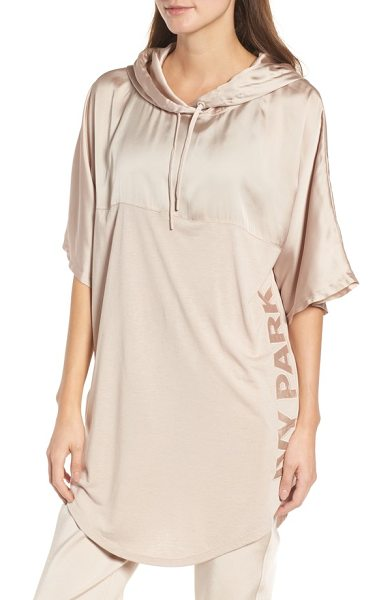 IVY PARK satin hooded tee in taupe