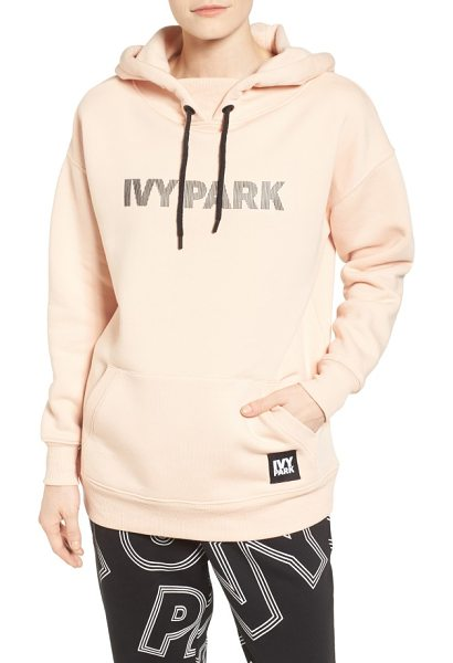 IVY PARK silicone logo hoodie in blush - Strips of silicone spell out your athleisure brand of...