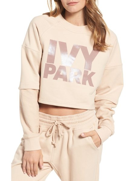 IVY PARK washed jersey cropped logo sweatshirt in dusty pink