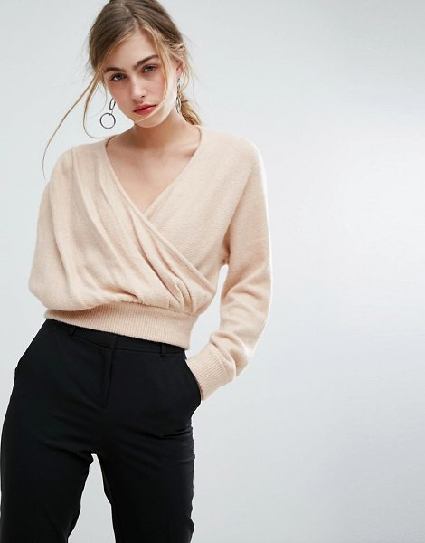 "Ivyrevel Cross Front Off Shoulder Sweater in beige - """"Sweater by Ivyrevel, Soft-touch knit, V-neck, Wrap..."