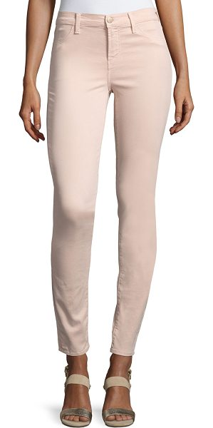 """J BRAND 485 Luxe Sateen Mid-Rise Skinny Pants - J Brand Jeans """"485"""" luxe sateen pants feature improved..."""